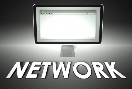 Computer screen and web browser with word Network, Internet concept photo