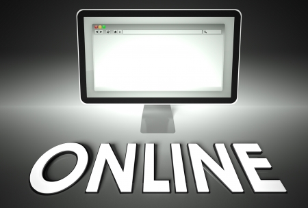 Computer screen and web browser with word Online, Network concept photo