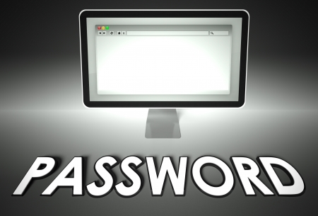Computer screen and web browser with word Password, Security concept photo
