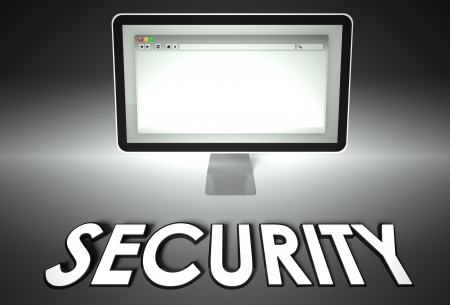 Computer screen and web browser with word Security, Safety concept photo
