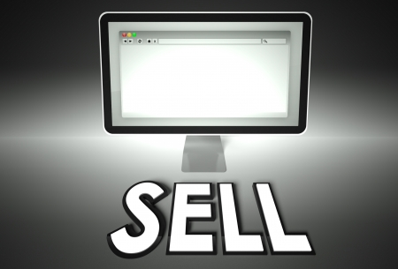 Computer screen and web browser with word Sell, E-commerce concept photo