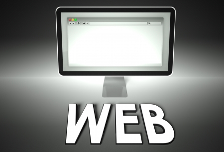 Computer screen and web browser with word Web, Network concept photo