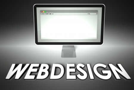 Computer screen and web browser with word Webdesign, Design concept photo