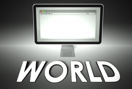Computer screen and web browser with word World, Network concept photo