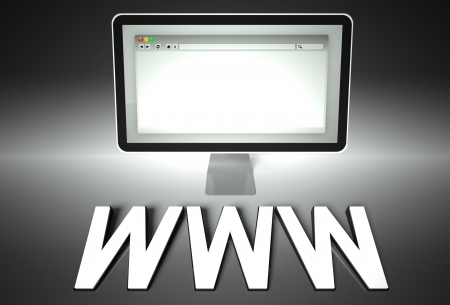 Computer screen and web browser with word Www, Network concept photo