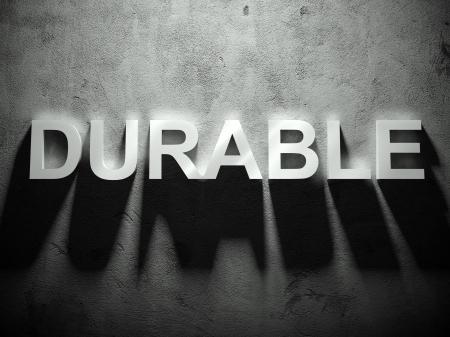 dauerhaft: Durable Text mit Schatten, Wort-Hintergrund Lizenzfreie Bilder