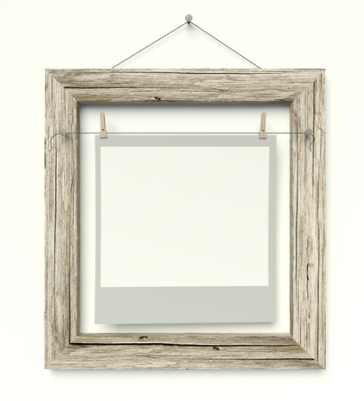 Empty old frame with blank photo on wall, isolated white photo