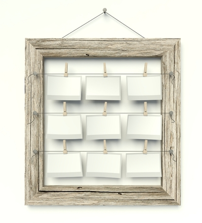 Empty old frame with blank photos on wall, isolated white photo