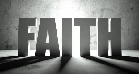 Geloof woord met schaduw, achtergrond met tekst