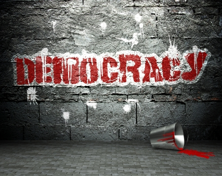Graffiti wall with democracy, street art background Stock Photo