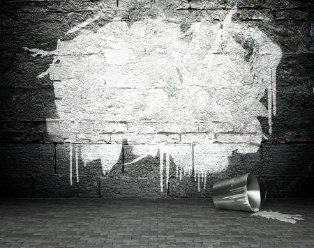 Graffiti muur met frame, street art achtergrond