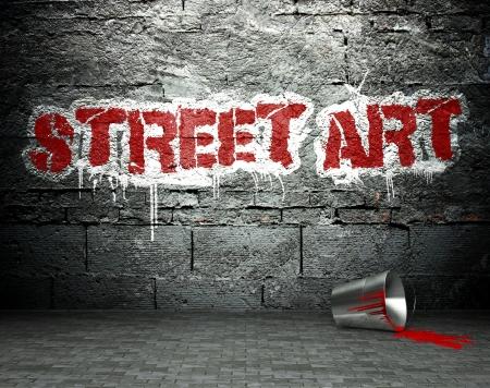 vandal: Graffiti wall with street art, background Stock Photo