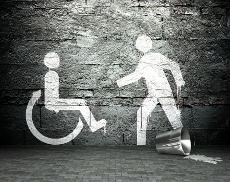 vandal: Graffiti wall with symbol of helping, street art background Stock Photo