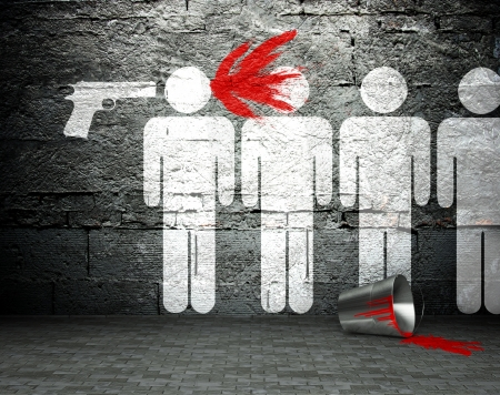 Graffiti wall with war symbol, street art background photo