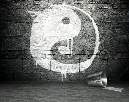 taiji: Graffiti wall with yin yang, street art background Stock Photo