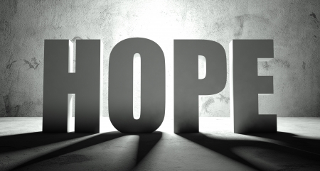Hope word with shadow, background with text Stock Photo