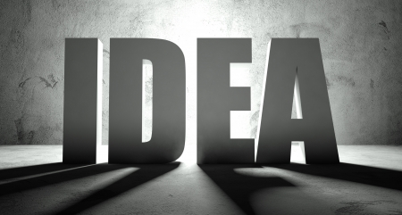 Idea word with shadow, background with text Stock Photo - 25334168