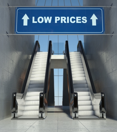 low prices: Moving escalator stairs in modern mall, low prices sign