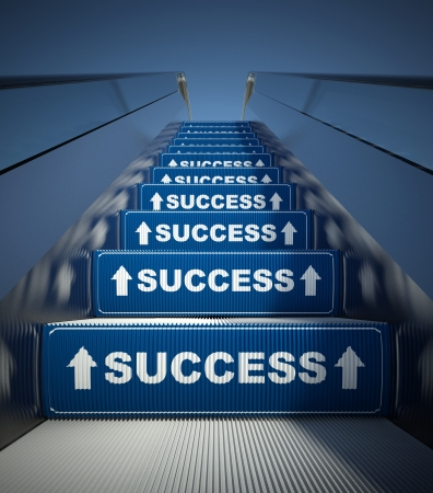 Moving escalator stairs to success, conception photo