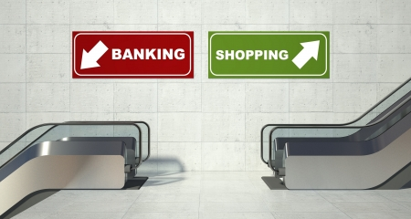 Moving escalators stairs, shopping banking sign photo