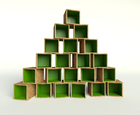 3d Open wooden boxes forming triangle or Christmas tree photo