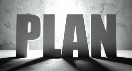 Plan word with shadow, background with text photo