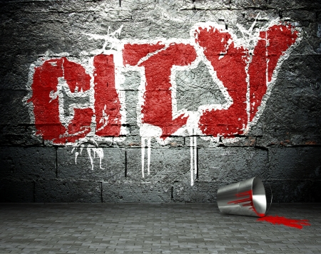 Graffiti wall with city, street art background photo