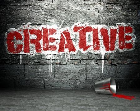 vandal: Graffiti wall with creative, street art background Stock Photo