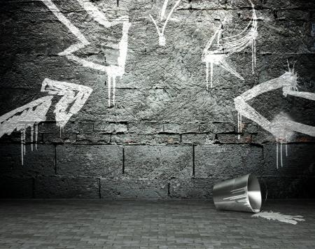 Graffiti muur met frame en pijlen, street art achtergrond Stockfoto