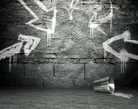 Graffiti wall with frame and arrows, street art background