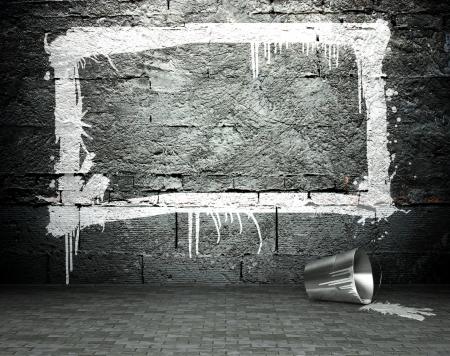Graffiti wall with frame, street art background photo