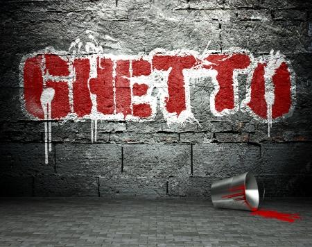 vandal: Graffiti wall with ghetto, street art background Stock Photo