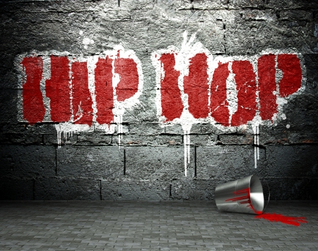 rapero: Pared de la pintada con el hip hop, el arte de la calle de fondo