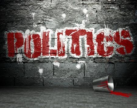 privilege: Graffiti wall with politics, street art background