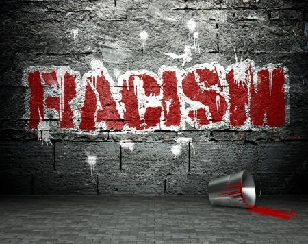 vandal: Graffiti wall with racism, street art background