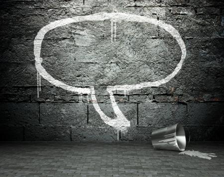 Graffiti wall with speech bubble, street art background photo