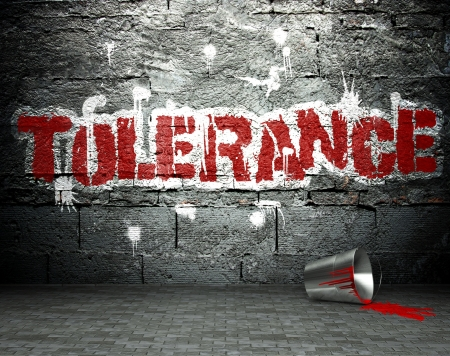 tolerance: Graffiti wall with tolerance, street art background