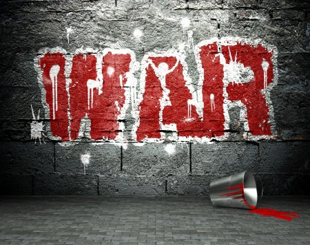 Graffiti wall with war, street art background photo