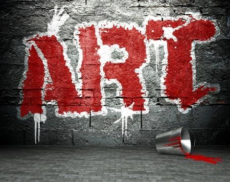 vandal: Graffiti wall, street art background Stock Photo