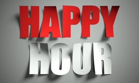 hour: Happy hour cut from paper, background