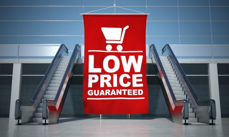 Low prices guaranteed advertising flag and modern moving escalator stairs Stock Photo