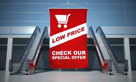 sell off: Low prices offer advertising flag and modern moving escalator stairs
