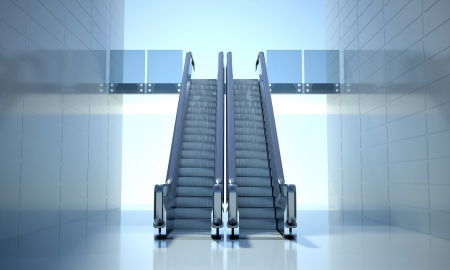 Modern office building and moving escalator stairs photo