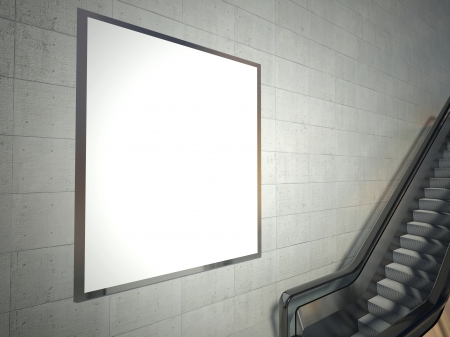 blank banner: Moving escalator stairs and empty advertising billboard