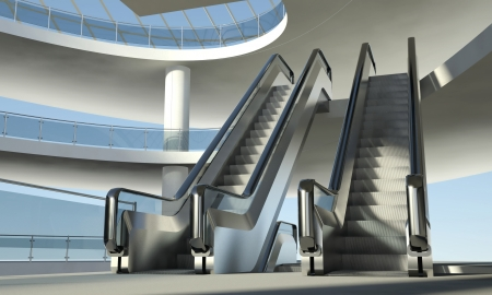 Moving escalator stairs and interior of modern office building photo