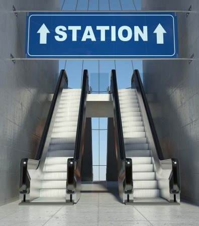 Moving escalator stairs in modern building, station sign photo