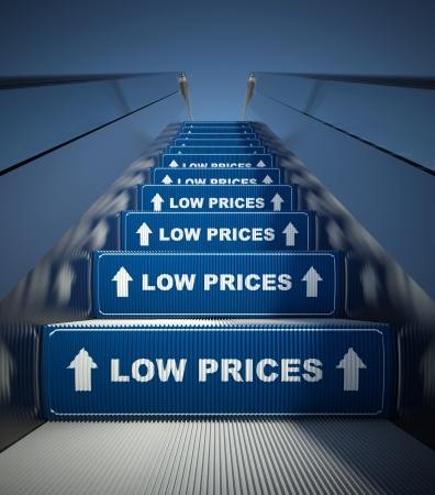 low prices: Moving escalator stairs to low prices, conception