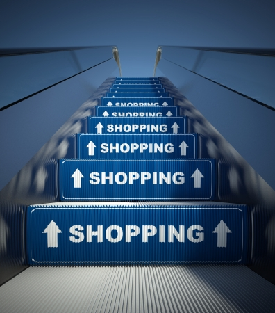 Moving escalator stairs to shopping, conception photo
