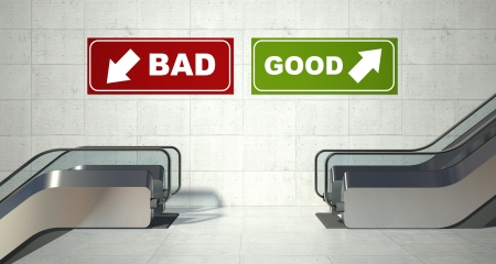 positives: Moving escalators stairs, good bad sign