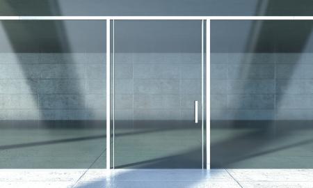 window display: Shopfront windows in modern building Stock Photo